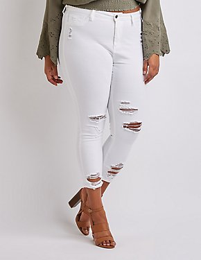 099080bbeb4e Cello Destroyed Skinny Jeans—stretchy white denim ripped and shredded